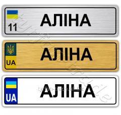 Именные металлические номера на детский транспорт за 1 час на оболони (индивидульный) аліна