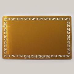Металлическая визитка с греческим орнаментом 86*54