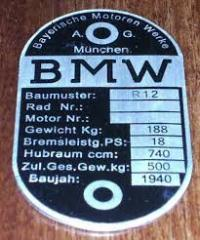 Табличка (шильдик) на мотоцикл бмв