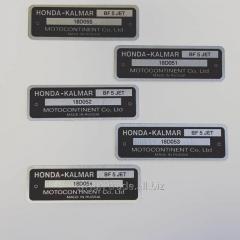 Табличка,бирка,шильд,шильдик,наклейка на лодочный мотор (двигатель) honda (хонда)