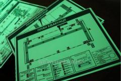 Табличка схема план евакуації металева светящаяся в темноте без батареек и электричества