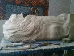 """Column carved """"Lion"""