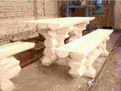 The furniture is wooden garden. Tables from the
