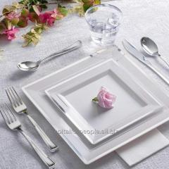 Квадратная тарелка одноразовая элитная без запаха