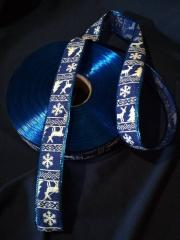 Новогодняя лента на мешковине , цв. синий
