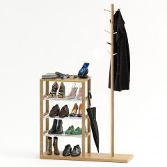 Этажерка деревянная с вешалкой для одежды Fenster Канзас Бук