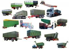 Tractor trailer with a loading capacity from 4,4