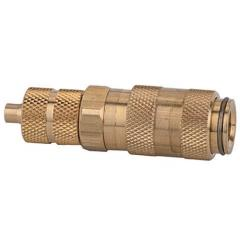 Quick disconnect couplings DN 2.7, brass with a bare metal surface, with hose connector - K-SVKM NW 2,7 SCHL MS BL
