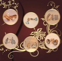 Серьги золотые,  серьги с драгоценными камнями,