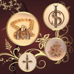 Ювелірні вироби, прикраси із золота, підвіски,