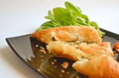 Bugatsa with cheese and spinach. Semi-finished