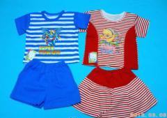 Одежда детская. Костюм кулир полоска,