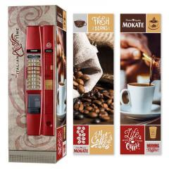 Брендированная наклейка на кофейный автомат Seaco Cristallo 600, красный