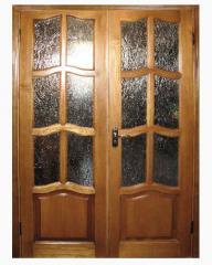 Двери межкомнатные двойные из дерева