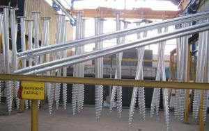 Piles are screw, production, sale, installation