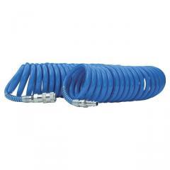 Шланг спиральный полиуретановый 8*12 мм, 20м с быстроразъемными соединениями