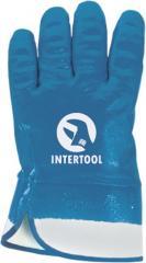 """Перчатка маслостойкая (синяя) на основе трикотажа покрытая нитрилом с твердым манжетам 10.5"""" (ящик 120 пар ) INTERTOOL SP-0001W"""