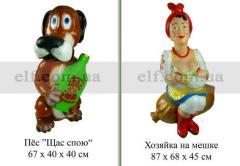 Декоративная фигура Дед и Баба, Пес, Хозяйка на