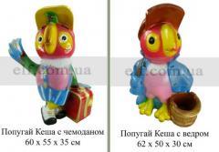 Декоративная скульптура Попугай Кеша с чемоданом,