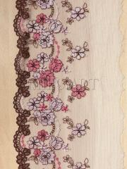Кружево вышивка на сетке розовое 116-145