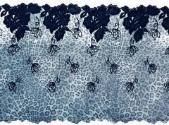 Кружево вышивка на сетке серо синее 139-24