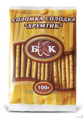 Straws sweet Hrustik. Weight - 100 g, the Period