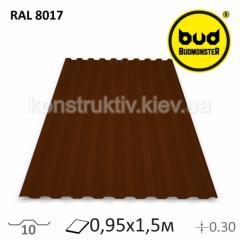 Профнастил 0,95*1,5м (Шоколадный)