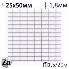 Сетка оцинкованная сварная штукатурная Ø1,8x25x50мм/1,5x20м г/ц