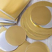 Подложка золото-серебро диаметр 130 мм ламинированная двухсторонняя