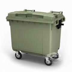 Пластиковый контейнер для мусора 660 л зеленый