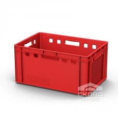 Пластиковый ящик для мяса 600х400х300мм красный