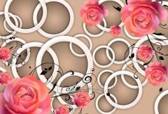 Флиъелиновые фотообои WS Wallpaper 3Д розы 392*270