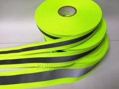Светоотражающая лента на ткане 3.5см*1.5см, салатовая