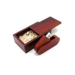 USB флешка Shandian овальная выкидная деревянная в