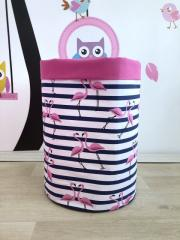 Корзина для игрушек из хлопка с фламинго