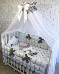 Комплект в детскую кроватку с балдахином для