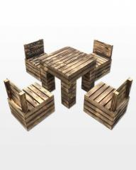 A set of wooden furniture decorative tare