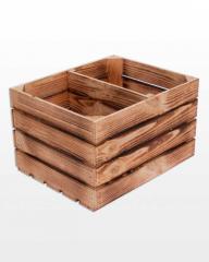 Ящик деревянный короткая перегородка 50x40x30 польский кубик обожженный