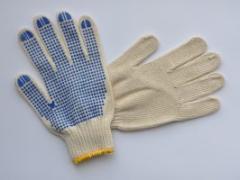 Рабочие перчатки трикотажные с ПВХ точкой
