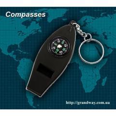 Брелок-компас со свистком и термометром