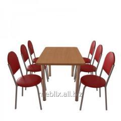 Комплект для кафе: Стол обеденный Хром + 6 стульев Velas