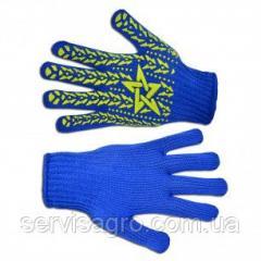 """Перчатки вязаные синие с вкраплением """"звезда""""L (587), (Украина)"""