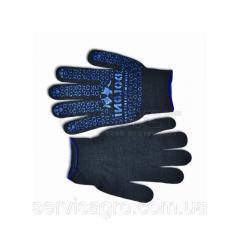 Перчатки вязаные черные с мелким вкраплением L