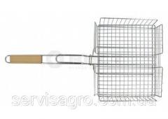 Решетка-гриль с бортом 25х31 см, с ручкой дерево, 56 см