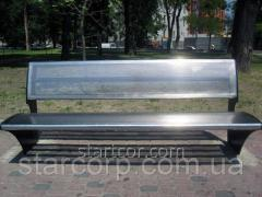Park bench made of stainless steel