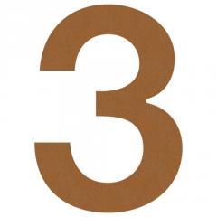 Номер на дом 3 нержавеющая сталь цвет коричневый