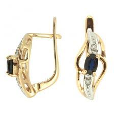 Золотые серьги с сапфирами и бриллиантами E-15509