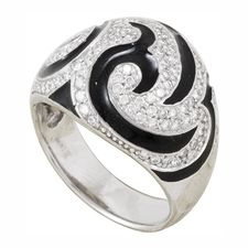 Золотое кольцо с бриллиантами и эмалью IKB1-1-470