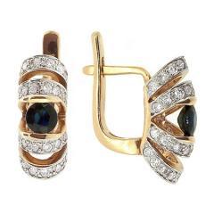 Золотые серьги с сапфирами и бриллиантами E-6170
