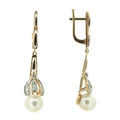 Золотые серьги с жемчугом и бриллиантами E-6781